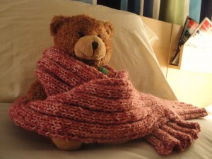 Teddy bear modeling pink ribbed scarf