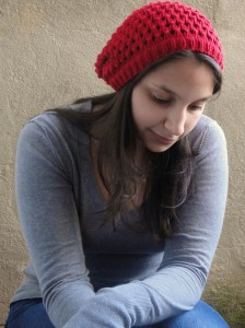 Allie modeling the Slouched Tuva Hat