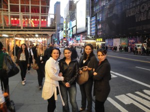 Photo of Zhanna, Danna, Allie, and Gulya in Times Square