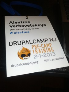 Name badge from DrupalCamp NJ 2013