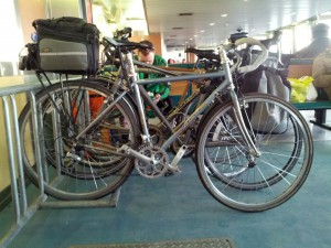 Bicycle in bike rack on Staten Island Ferry